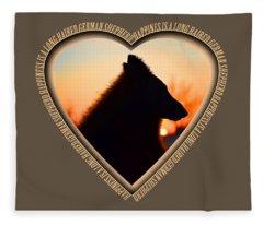 Wuffstar Happiness Is A Long Haired German Shepherd Heart Fleece Blanket
