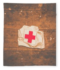 Ww2 Nurse Cap Lying On Wooden Floor Fleece Blanket