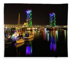 Wwi Memorial Bridge Blue-green Fleece Blanket