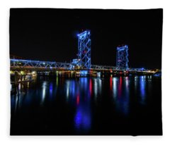 Wwi Memorial Bridge Blue Fleece Blanket