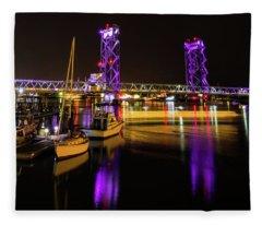 Wwi Memorial Bridge Purple Fleece Blanket
