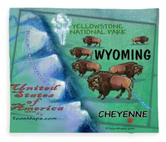 Wyoming Fun Map Fleece Blanket