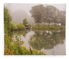 Misty Pond Bridge Reflection #5 Fleece Blanket