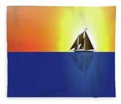 Yacht In Sunlight Fleece Blanket