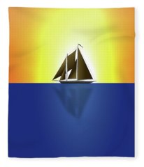 Yacht In Sunlight Fleece Blanket