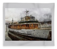 Yacht M V Discovery Fleece Blanket