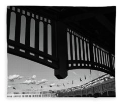Yankee Stadium Facade - B And W Fleece Blanket