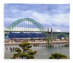 Yaquina Bay Bridge Panorama Fleece Blanket