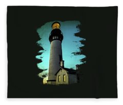 Yaquina Head Lighthouse At Sunset Fleece Blanket