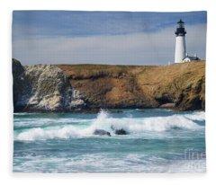 Yaquina Head Lighthouse On The Oregon Coast Fleece Blanket