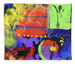 Red Abstract Fleece Blanket