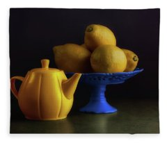 Yellow And Blue Still Life Fleece Blanket
