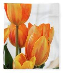 Yellow And Orange Striped Tulips Fleece Blanket