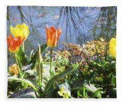 Yellow And Orange Tulips In Giverny  Fleece Blanket