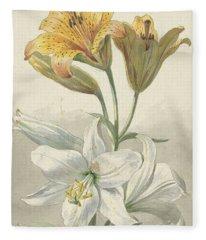 Yellow And White Lilies, Willem Van Leen, Ca. 1780 Fleece Blanket