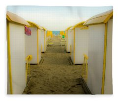 Yellow Beach Cabanas Fleece Blanket