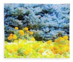 Yellow, Blue, Orange Fleece Blanket