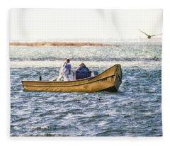 Yellow Boat - Fleece Blanket