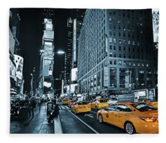 Yellow Broadway At Night - Nyc Fleece Blanket