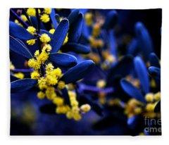 Yellow Bursts In Blue Field Fleece Blanket
