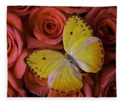 Yellow Butterfly Resting On Roses Fleece Blanket
