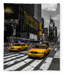 Yellow Cabs Cruisin On The Times Square  Fleece Blanket