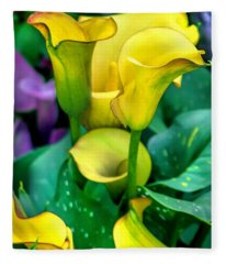 Yellow Calla Lilies Fleece Blanket