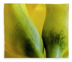 Yellow Calla Lily Flowers Fleece Blanket