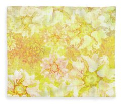 Yellow Camellia Hedges Fleece Blanket