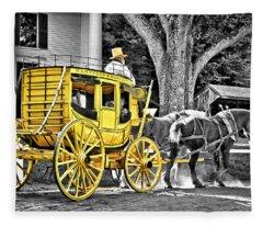 Yellow Carriage Fleece Blanket