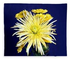 Yellow Chrysanthemums On Blue Fleece Blanket