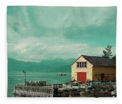 Yellow Cottage Fleece Blanket