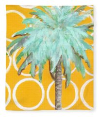 Yellow Delilah Palm Fleece Blanket