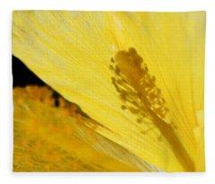 Yellow Flower - Hibiscus Shadow - Sharon Cummings Fleece Blanket