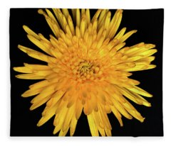 Yellow Flower Macro Fleece Blanket