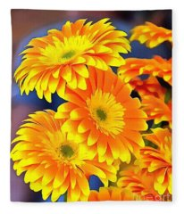 Yellow Flowers In Thick Paint Fleece Blanket