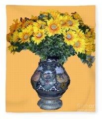 Yellow Flowers In Vase Fleece Blanket