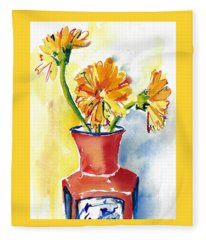 Yellow Gerbera Daisies In A Red And Blue Delft Vase Fleece Blanket