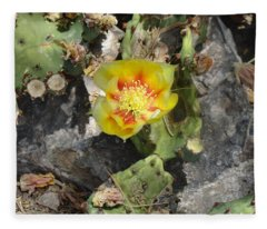 Yellow Cactus Flower Blossom Fleece Blanket