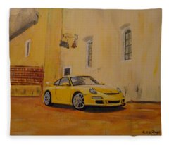 Yellow Gt3 Porsche Fleece Blanket