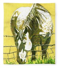 Yellow Horse Fleece Blanket