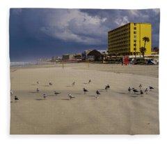 Yellow Hotel Blue Sky And Birds On Daytona Beach Florida Fleece Blanket