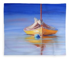 Yellow Hull Sailboat Iv Fleece Blanket