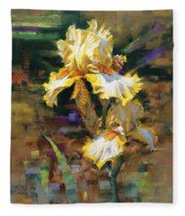 Yellow Iris II Fleece Blanket
