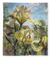 Yellow Iris Fleece Blanket