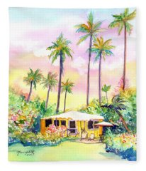 Yellow Kauai Cottage Fleece Blanket