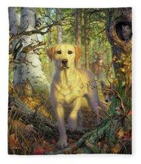 Yellow Lab In Fall Fleece Blanket