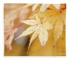 Yellow Leaf With Red Veins Fleece Blanket