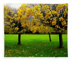 Yellow Leaves At Muckross Gardens Killarney Fleece Blanket