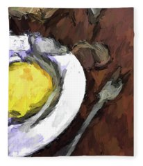 Yellow Lemon In A White Bowl With A Fork And A Wine Glass Fleece Blanket